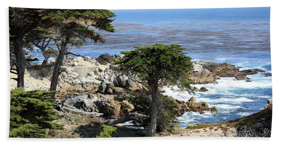 California Bath Sheet featuring the photograph Carmel Seaside With Cypresses by Carol Groenen