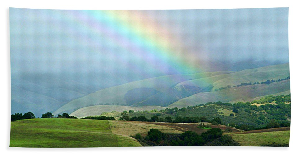 Rainbow Hand Towel featuring the photograph Carmel Valley Rainbow by Charlene Mitchell