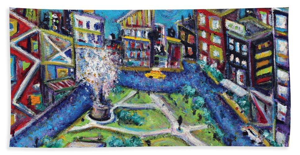 New York City Bath Sheet featuring the painting Carmine Street by Jason Gluskin