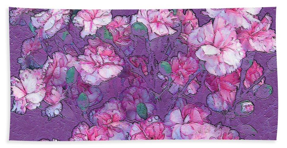 Art Bath Sheet featuring the digital art Carnation Inspired Art by Barbara Tristan