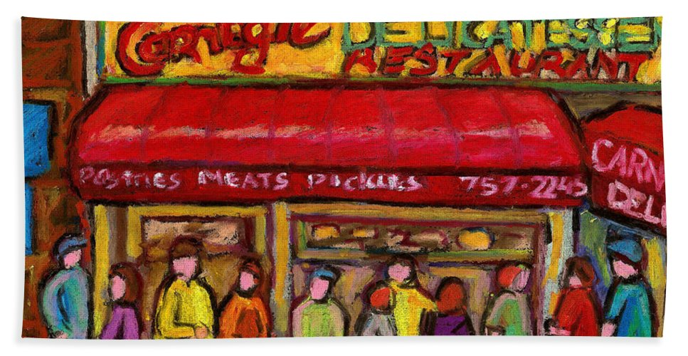 Carnegie's Deli Hand Towel featuring the painting Carnegie's Deli by Carole Spandau