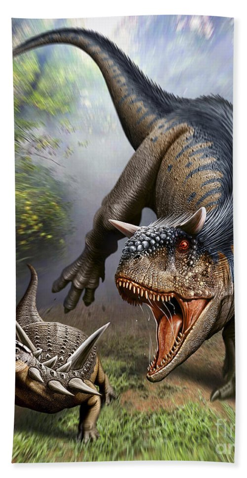 Vertical Bath Sheet featuring the digital art Carnotaurus Attacking An Antarctopelta by Mohamad Haghani