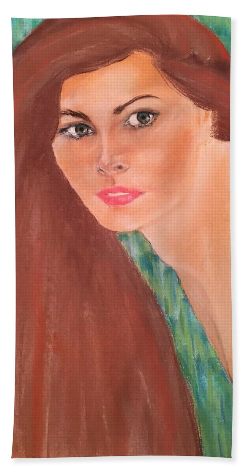 Vogue Model Hand Towel featuring the pastel Carol Alt by Florence Hsu