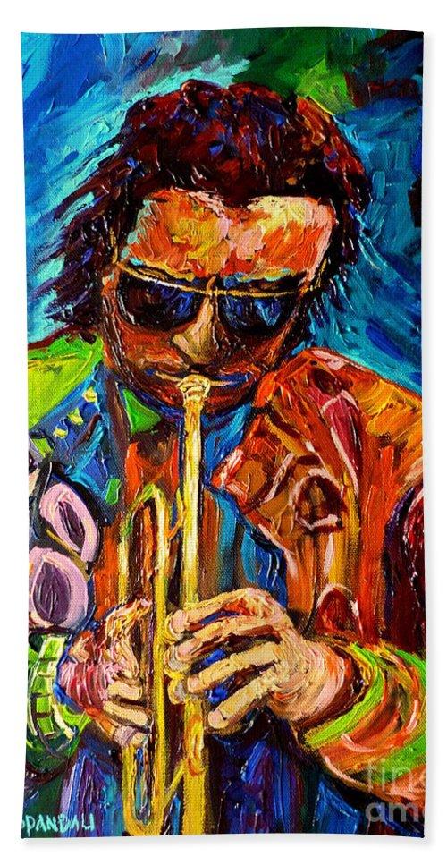 Carole Spandau Hot Jazz Portraits Bath Towel featuring the painting Carole Spandau Paints Miles Davis And Other Hot Jazz Portraits For You by Carole Spandau