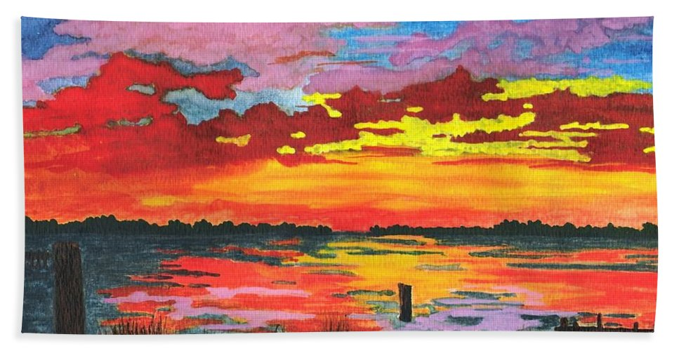 Original Painting Hand Towel featuring the painting Carolina Sunset by Patricia Griffin Brett
