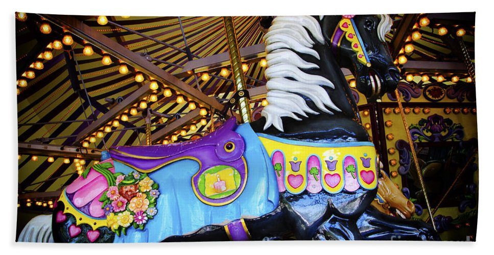 Carousel Hand Towel featuring the photograph Carousel Horse 1 by Bob Christopher