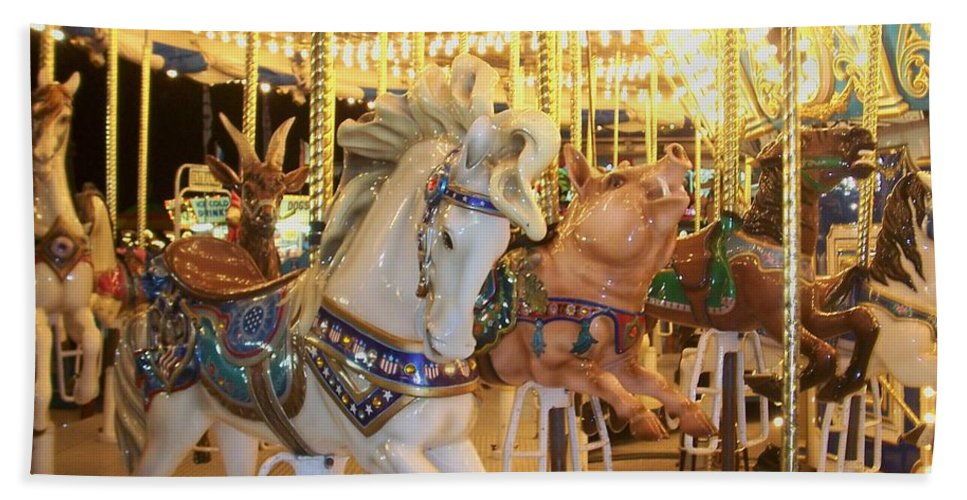 Carosel Horse Hand Towel featuring the photograph Carousel Horse 2 by Anita Burgermeister