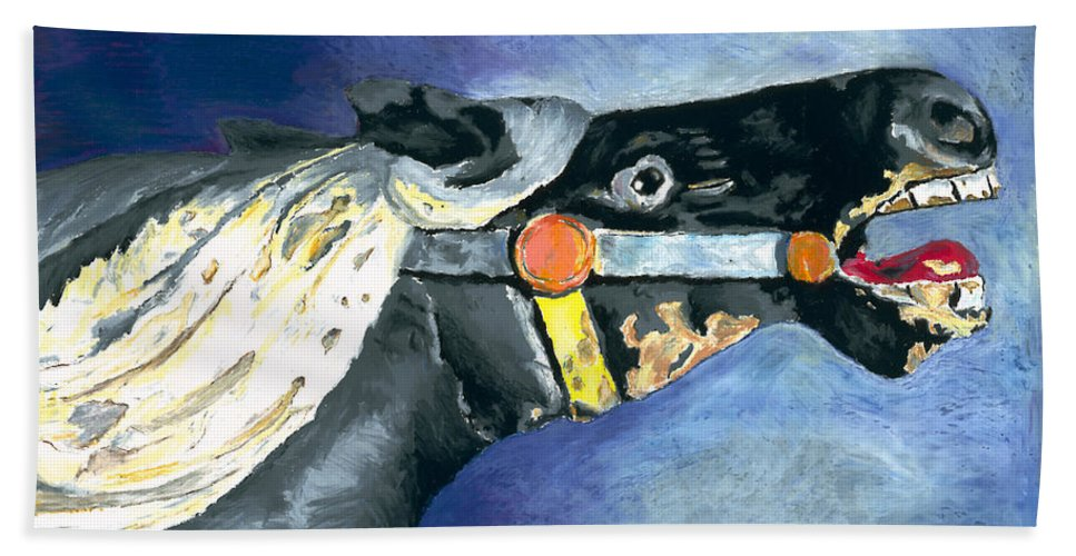 Carousel Horse Hand Towel featuring the painting Carousel Horse 2 by Stephen Anderson