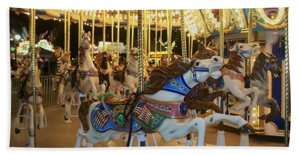 Carousel Horse Bath Towel featuring the photograph Carousel Horse 3 by Anita Burgermeister