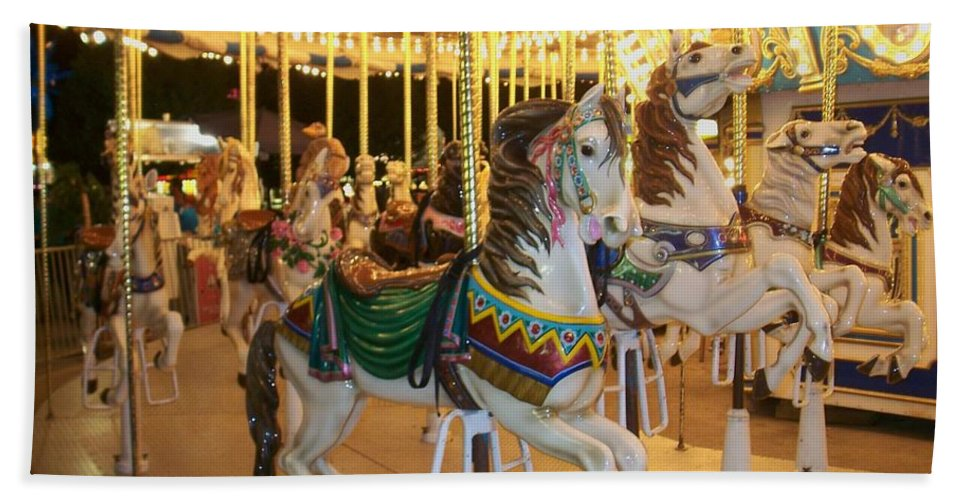 Carousel Horse Bath Towel featuring the photograph Carousel Horse 4 by Anita Burgermeister