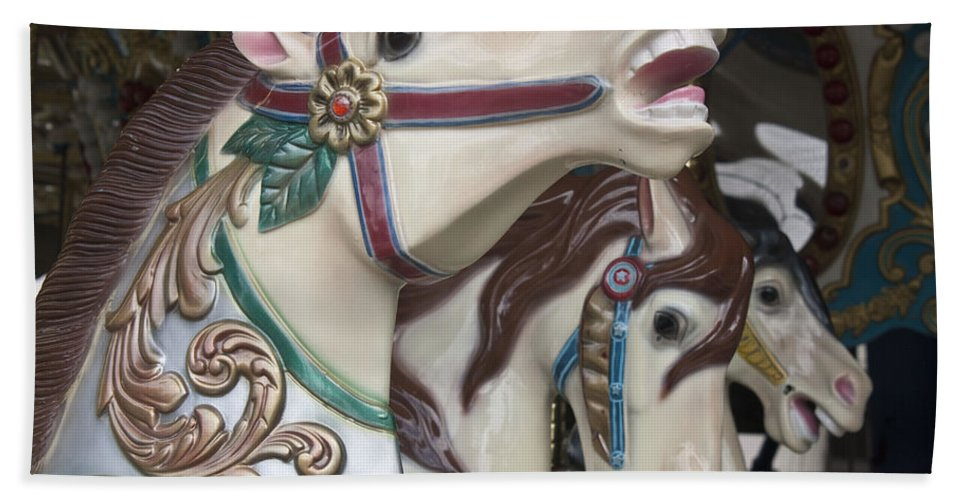 Carousel Hand Towel featuring the photograph Carousel Horse by Donna Walsh