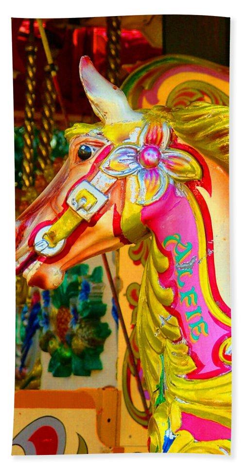 Alfie Bath Sheet featuring the photograph Carousel Horse London Alfie England by Heather Lennox