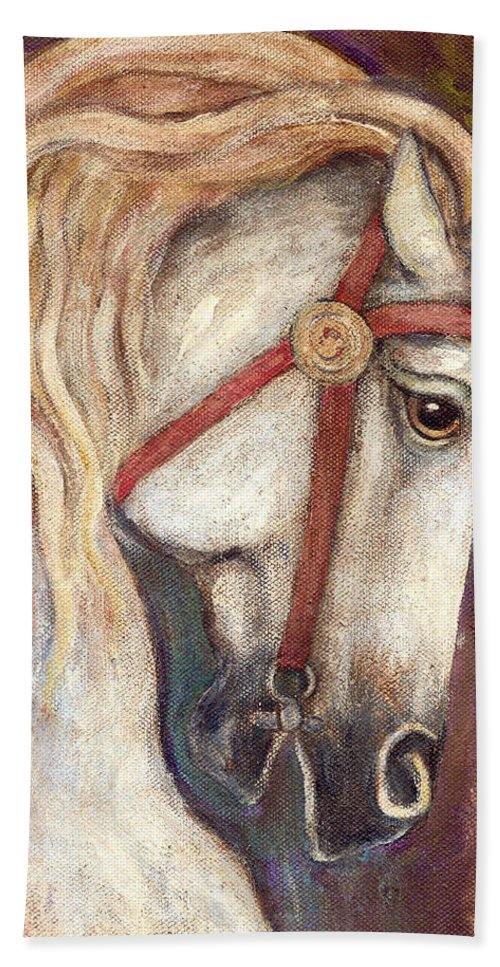 Horse Painting Bath Towel featuring the painting Carousel Horse Painting by Frances Gillotti