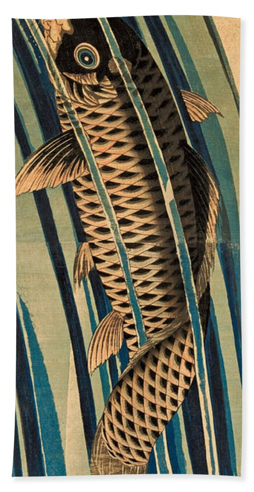 Keisai Eisen Hand Towel featuring the drawing Carp Ascending A Waterfall by Keisai Eisen