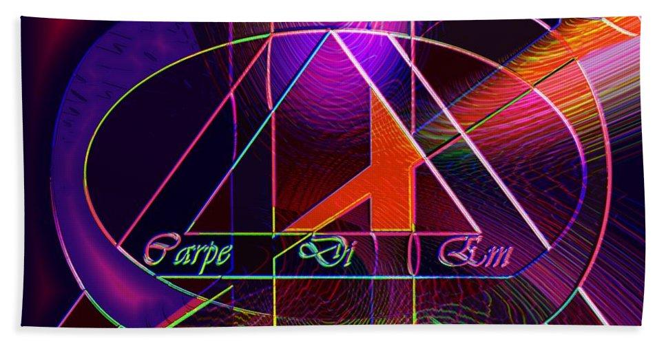 Carpediem Bath Towel featuring the digital art Carpe Diem Orangecross by Helmut Rottler