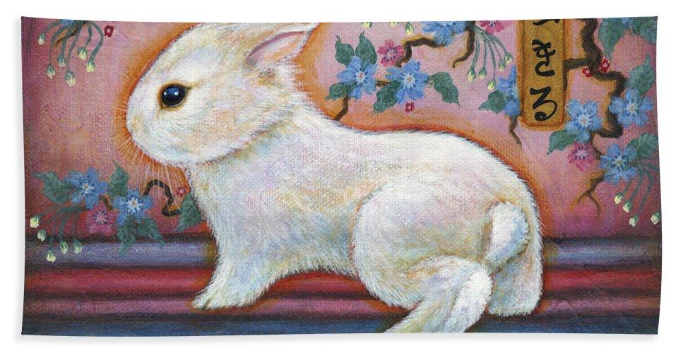 Rabbit Bath Sheet featuring the painting Carpe Diem Rabbit by Retta Stephenson