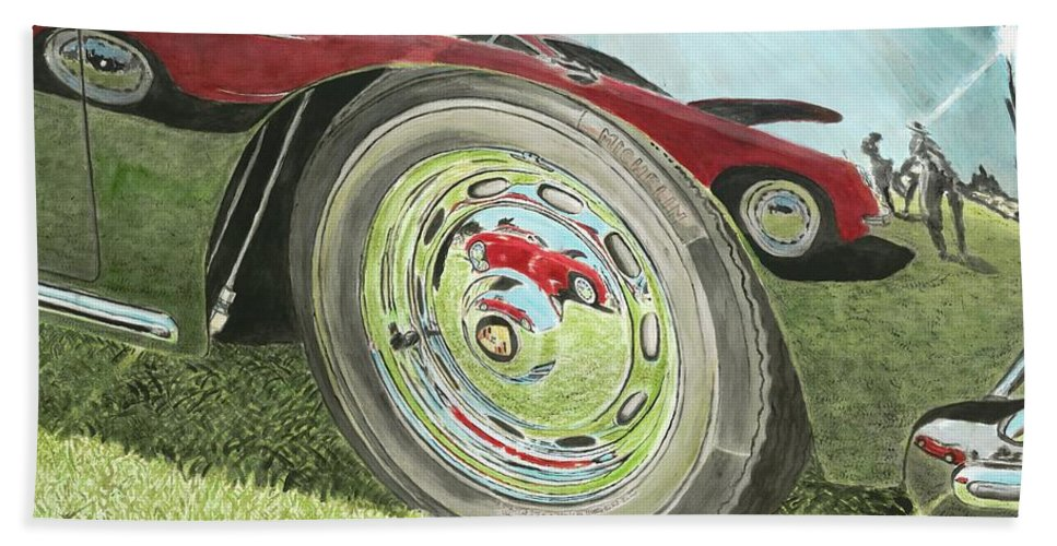 Porsche Hand Towel featuring the painting Carrera Chrome by Richard Lewis