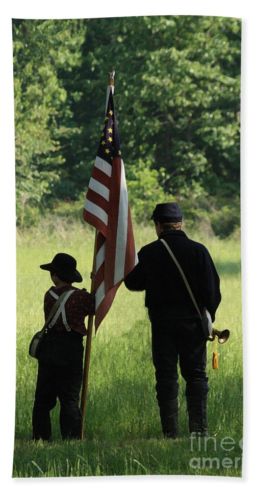 Civil War Re-enactment Hand Towel featuring the photograph Carrier Of The Flag by Kim Henderson