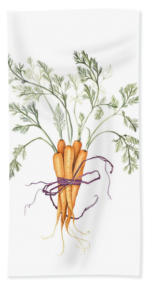 Vegetable Hand Towel featuring the painting Carrot Harvest by Diane Inman