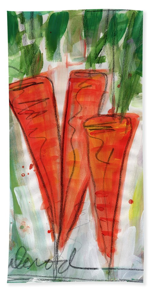 Carrots Hand Towel featuring the painting Carrots by Linda Woods