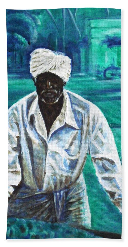 Indian Hand Towel featuring the painting Cart Vendor by Usha Shantharam