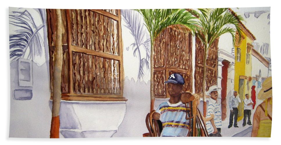 Landscape Hand Towel featuring the painting Cartagena Peddler I by Julia RIETZ