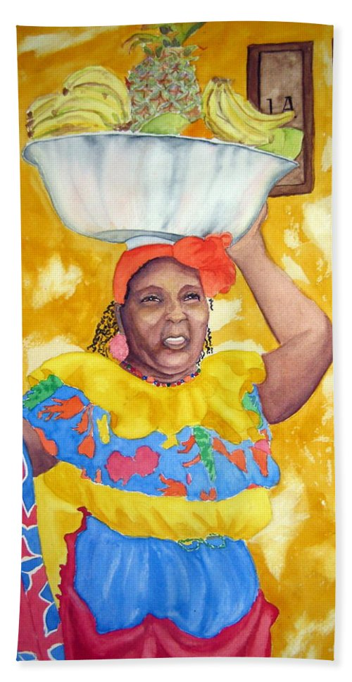 Cartagena Hand Towel featuring the painting Cartagena Peddler II by Julia RIETZ