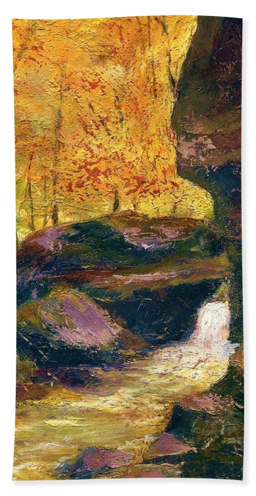 Kentucky Bath Towel featuring the painting Carter Caves Kentucky by Gail Kirtz
