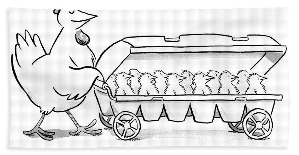 Hen Bath Sheet featuring the drawing Carton Of Chicks by Robert Leighton