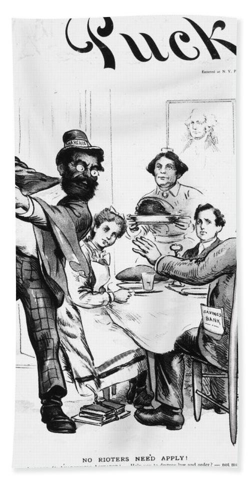1893 Bath Sheet featuring the photograph Cartoon: Anarchist, 1893 by Granger
