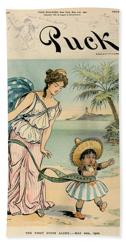 1902 Bath Sheet featuring the photograph Cartoon: Cuba, 1902 by Granger