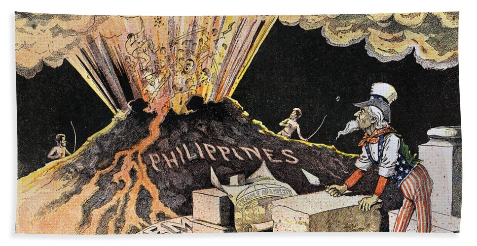 1899 Hand Towel featuring the photograph Cartoon: Philippines, 1899 by Granger