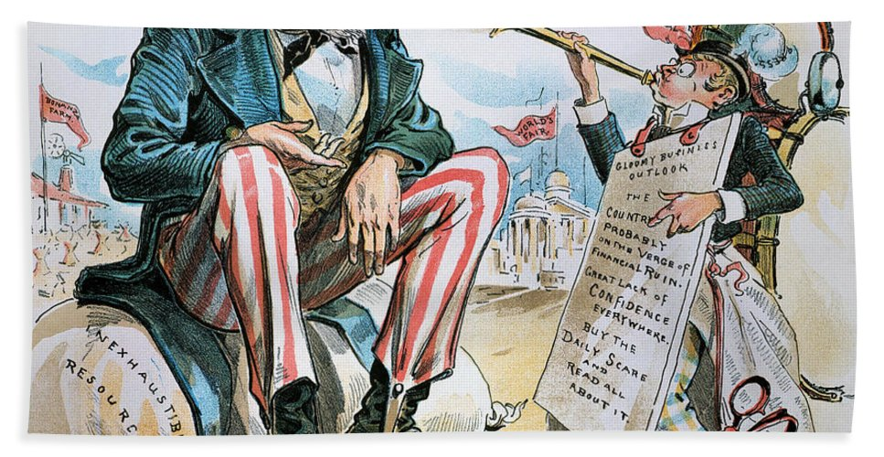 1893 Bath Sheet featuring the photograph Cartoon: Uncle Sam, 1893 by Granger