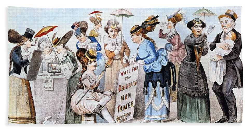 1869 Hand Towel featuring the photograph Cartoon: Womens Rights by Granger