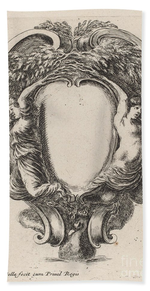 Hand Towel featuring the drawing Cartouche With Two Nymphs Metamorphosed Into Trees by Stefano Della Bella