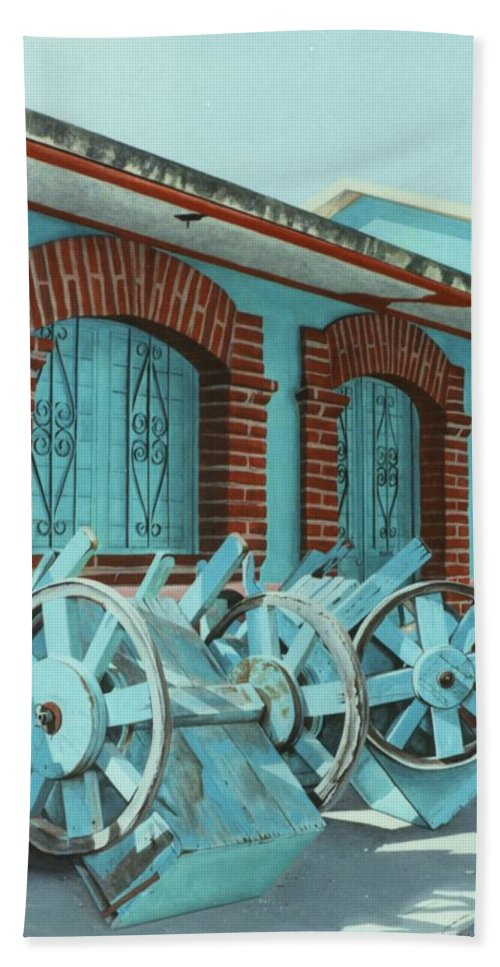 Hyperrealism Hand Towel featuring the painting Carts And Door by Michael Earney