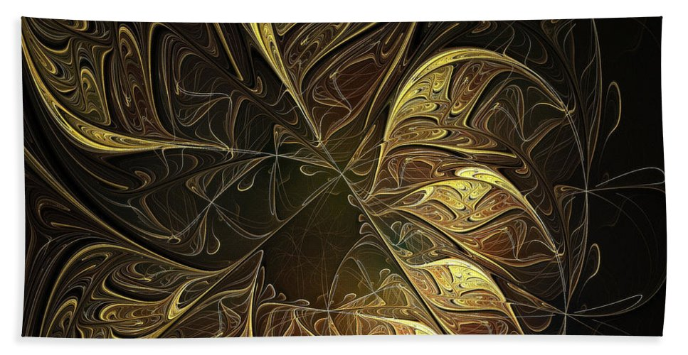 Digital Art Bath Sheet featuring the digital art Carved In Gold by Amanda Moore
