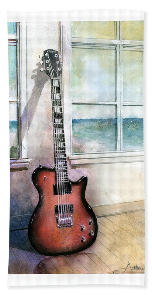 Guitar Bath Sheet featuring the painting Carvin Electric Guitar by Andrew King