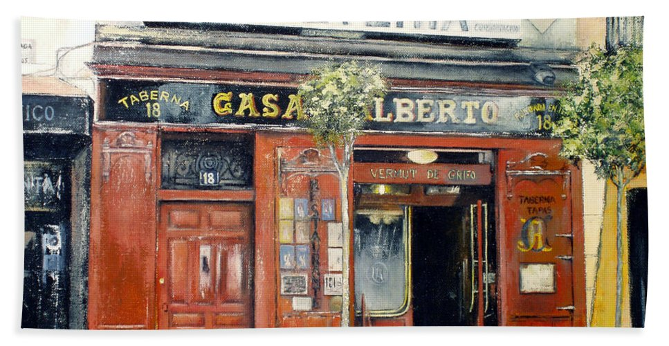 Casa Alberto Bath Sheet featuring the painting Casa Alberto Restaurant by Tomas Castano