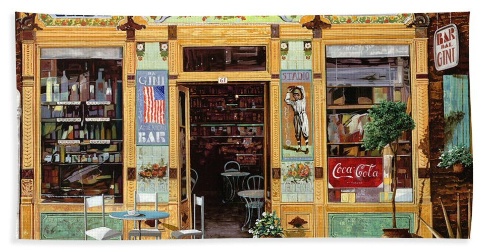 Coffe Shop Bath Towel featuring the painting Casa America by Guido Borelli