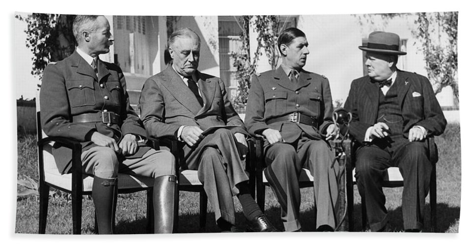 1943 Bath Sheet featuring the photograph Casablanca Conference by Granger