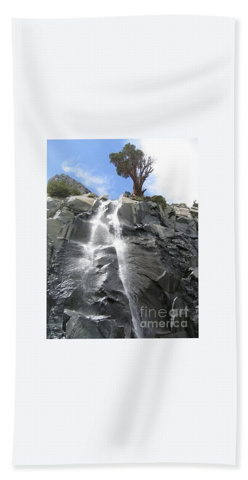 Waterfall Hand Towel featuring the photograph Cascade In The Sierras by Bruce Chevillat