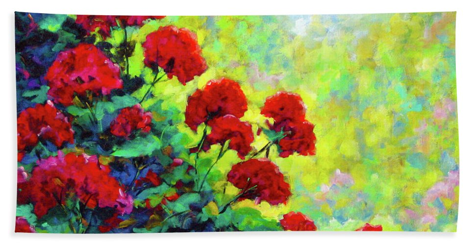 Art Original Bath Towel featuring the painting Cascade Of Geraniums by Richard T Pranke