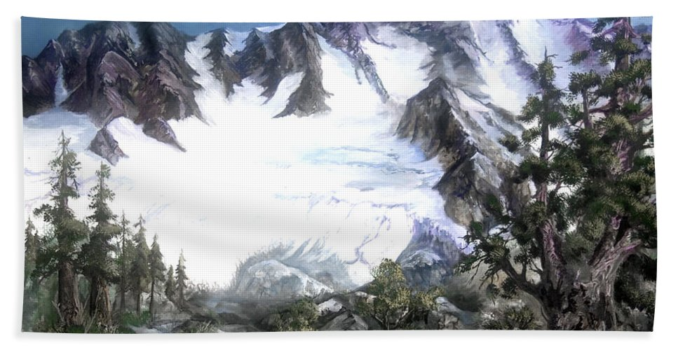 Mountain Hand Towel featuring the painting Cascade Splendor Mount Fury by Sherry Shipley