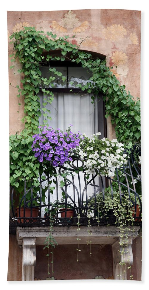 Windows And Doors Bath Towel featuring the photograph Cascading Floral Balcony by Donna Corless