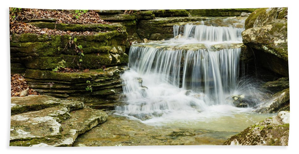 Arkansas Hand Towel featuring the photograph Cascading Into The Pool by Terri Morris