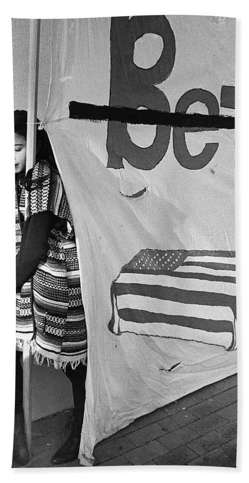 Casket On Banner Young Girl Anti Gulf War Rally Tucson Arizona 1991 Bath Sheet featuring the photograph Casket On Banner Young Girl Anti Gulf War Rally Tucson Arizona 1991 by David Lee Guss