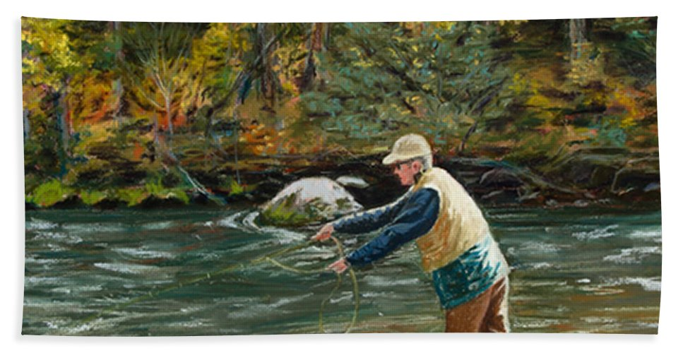 Fly Fishing Hand Towel featuring the painting Cast Away by Mary Benke