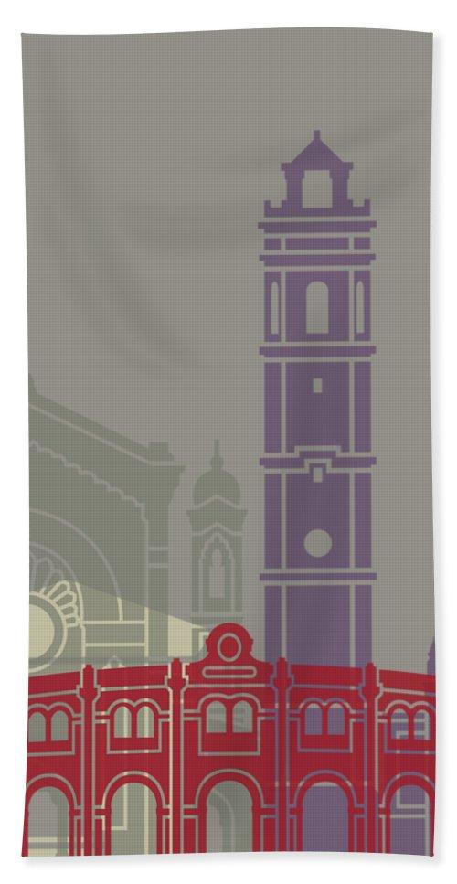 Castellon Bath Sheet featuring the painting Castellon Skyline Poster by Pablo Romero