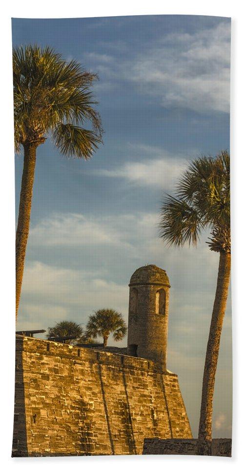 Joan Carroll Hand Towel featuring the photograph Castillo De San Marcos Dawn II by Joan Carroll